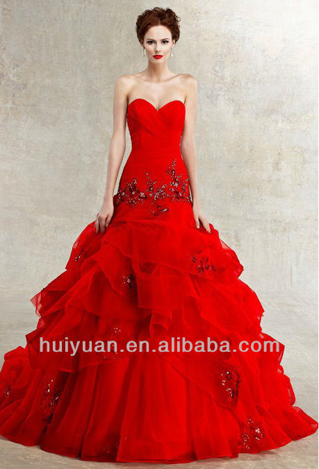 Red Organza Backless Beautiful Red Wedding Dresses