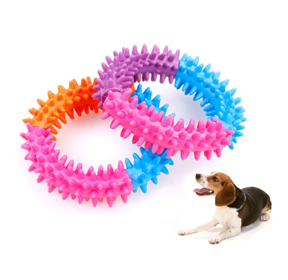 Da.Wa 2Pcs Pet Toy Colorful Rubber Bite Puppy Dog Teething Chewing Play Toy Five Color Ring Large Size