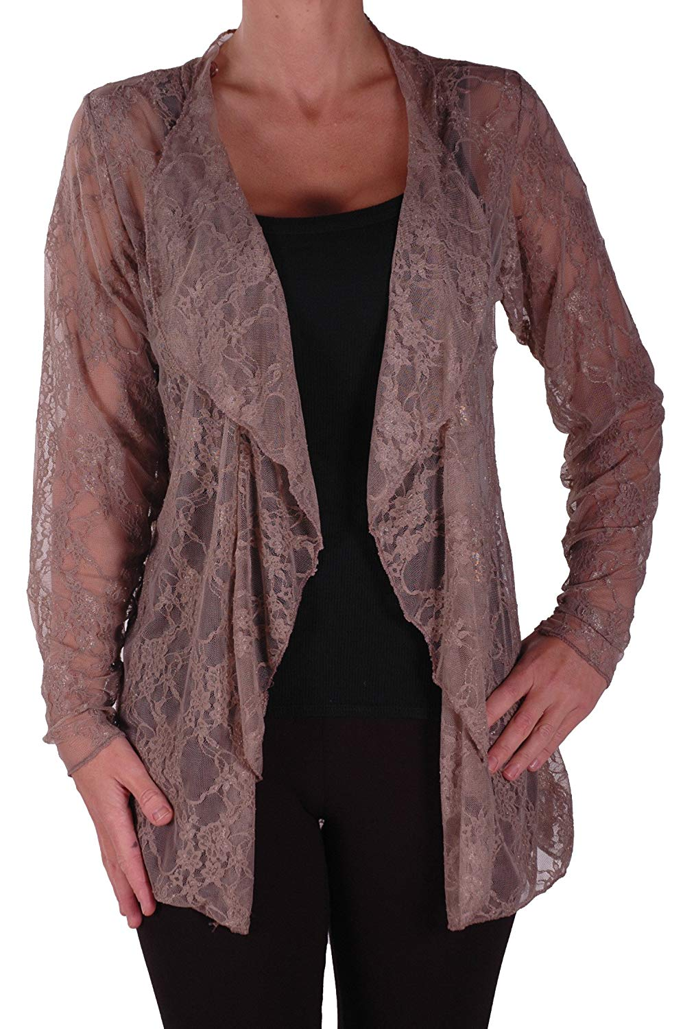 New Plus Size Womens Floral Lace Open Cardigan Ladies Long Sleeve Waterfall Top