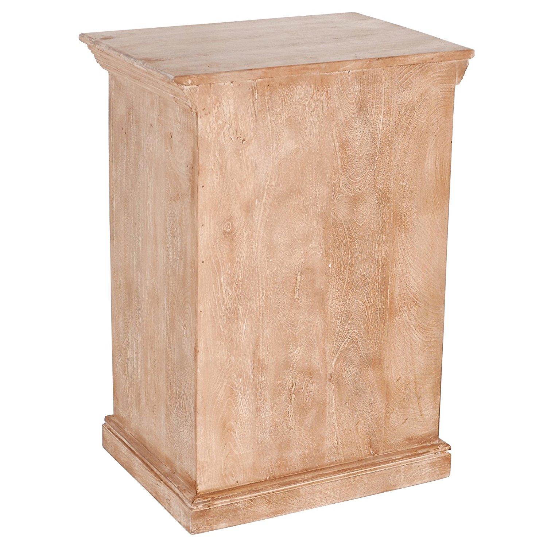 Get Quotations · PoliVaz Magnolia Rustic Reclaimed Wood And Metal  Nightstand, Medium