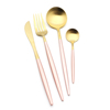 Pink&Gold-4pcs of Spoon,Knife,Fork,Tea spoon