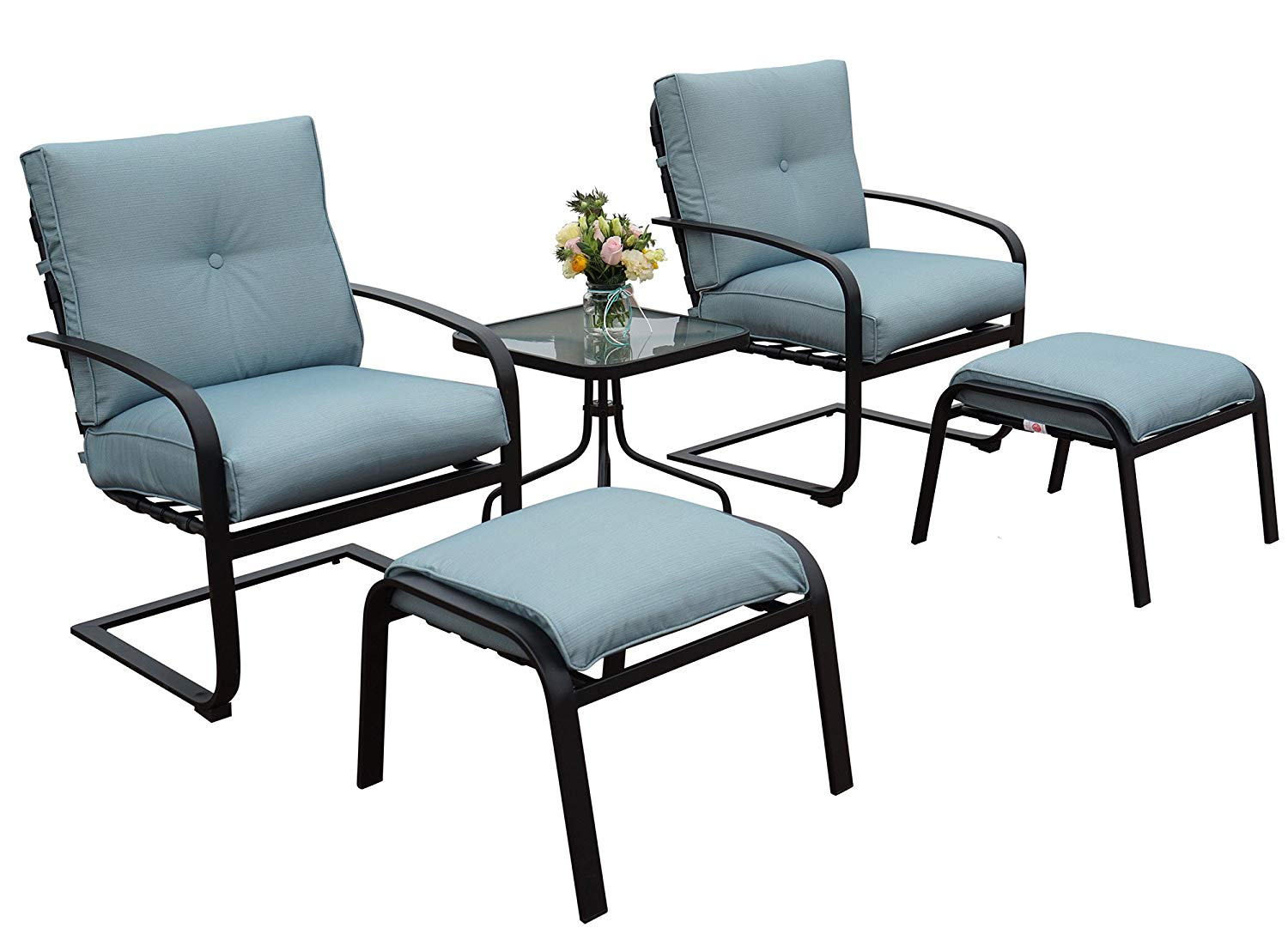 Kozyard Habana Patio 5PCS Spring Conversation Sets with Blue Cushion and Ottoman Great for Patio, Deck, Porch, Poolside Conversation or Drinks