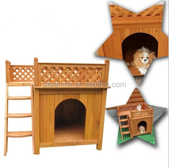 Wooden Pet Home with Balcony