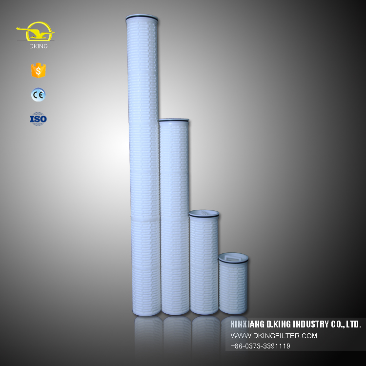 Hoge debiet 1.0 micron PP waterfilter geplooide cartridge filter in China