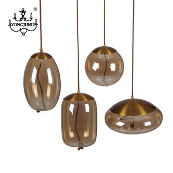 Good Price Modern Vintage copper amber glass lampshade Led Pendant Light