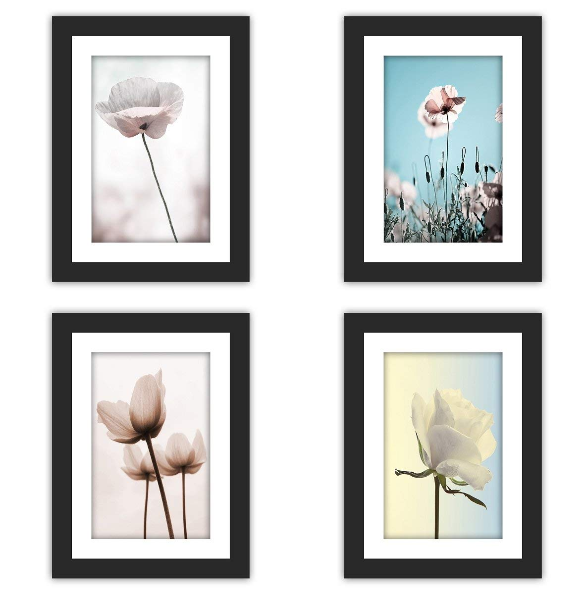 "4x Real Glass Wood Frame Black Fit 5x7"" ,1 Mat Matted Fit Image Pictures Photo 4x6"" Desktop Stand or Wall Hang Vertical Horizontal Family Decoration (29-32)"