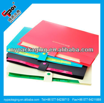 ECO-Friendly PP A4 A5 Custom File Folder Logo Print 7 dividers 8 Pockets Expanding Folder With Button