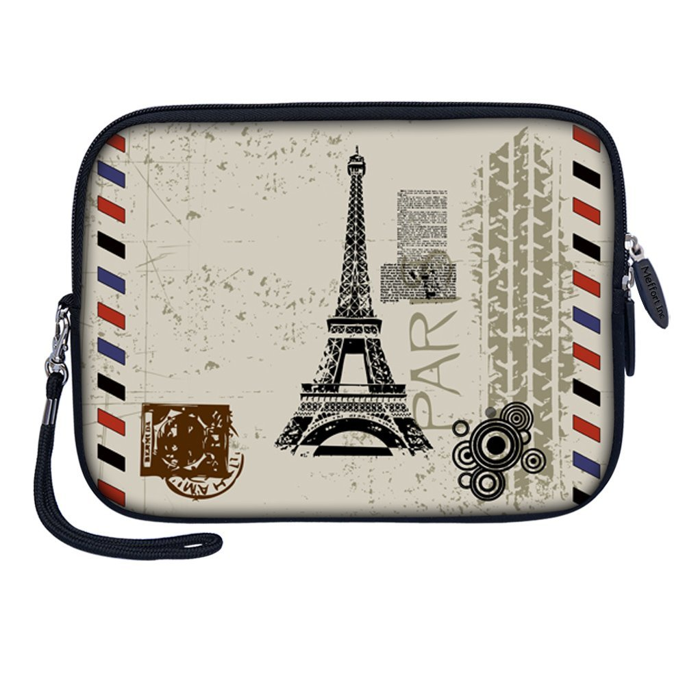 "Meffort Inc 7 inch Tablet Carrying Case Sleeve Bag w Removable Handle for most 6"" 7"" 8"" Tablet eBook - Paris Design"