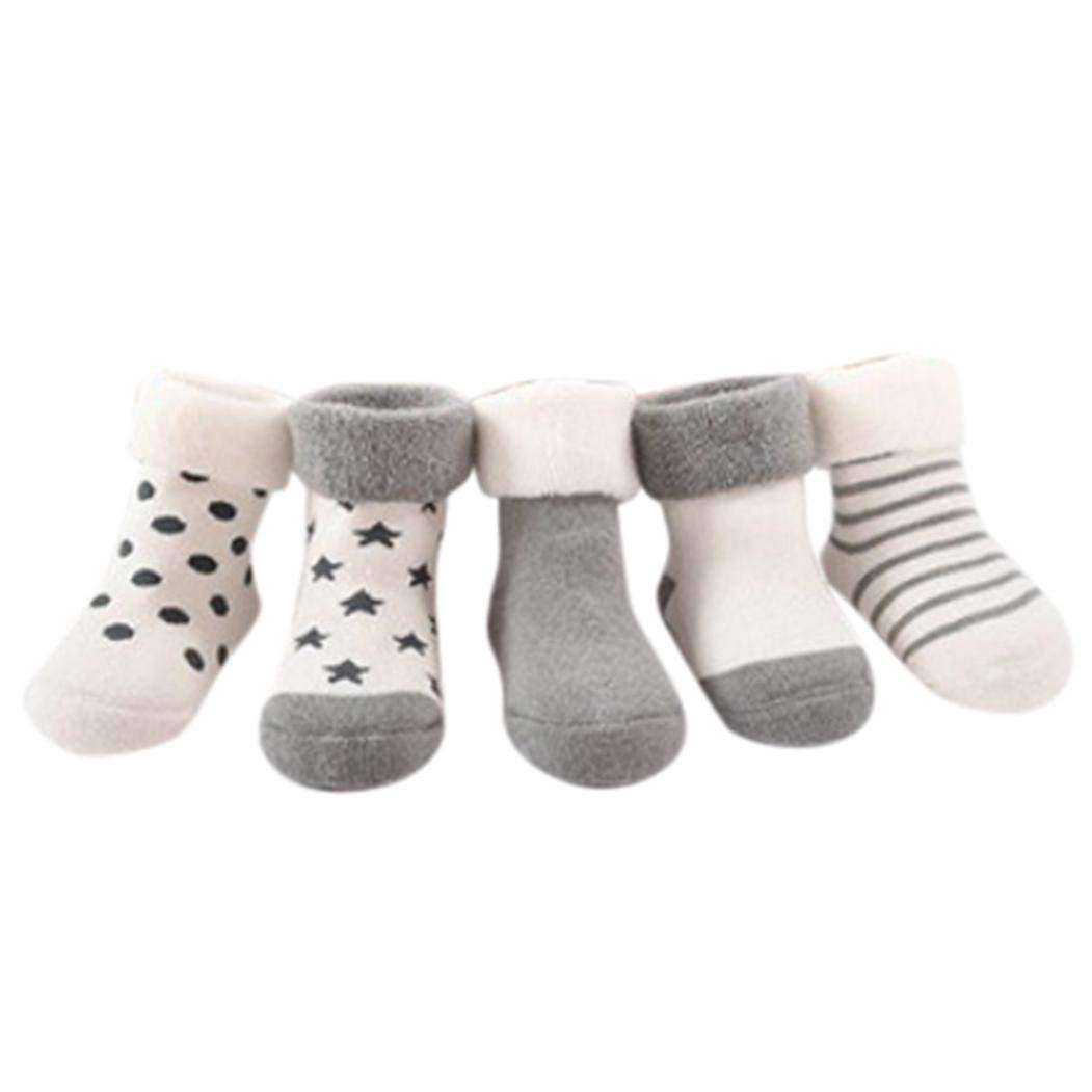 Iuhan 5 Pairs Baby Boys Girls Striped Knitting Cotton Infant Children Kids Socks
