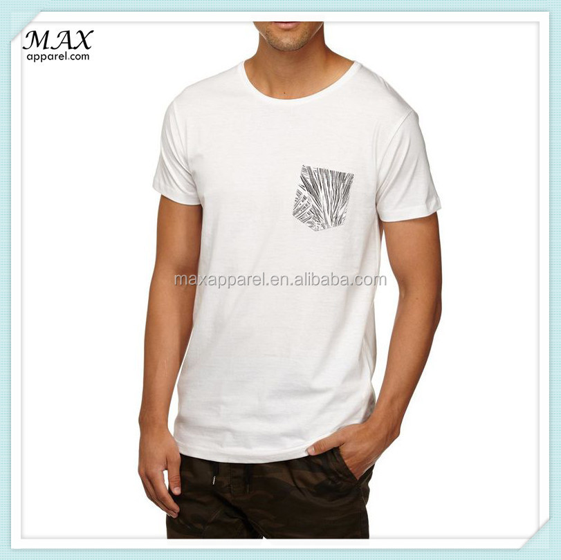 Man Short Sleeve Cotton T Shirt Chest Pocket Design T Shirt Custom