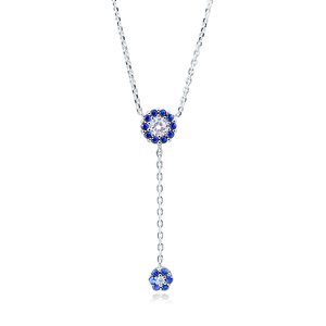 POLIVA Elegance Pretty 925 Sterling Silver White Blue Sapphire Diamond Cubic Zirconia Cz Long Pendant Necklace
