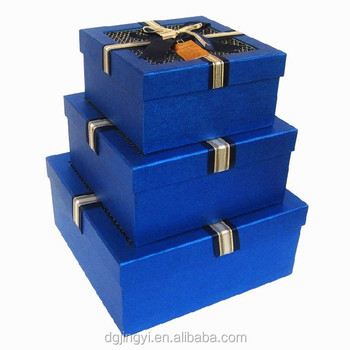 blue small light up christmas cardboard gift boxes with lids