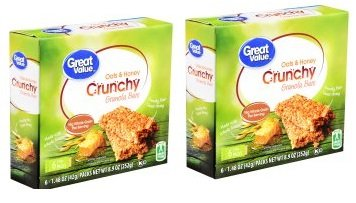 Great Value Crunchy Granola Bars, Oats & Honey, 1.4 oz, 6 Count (Pack of 2)