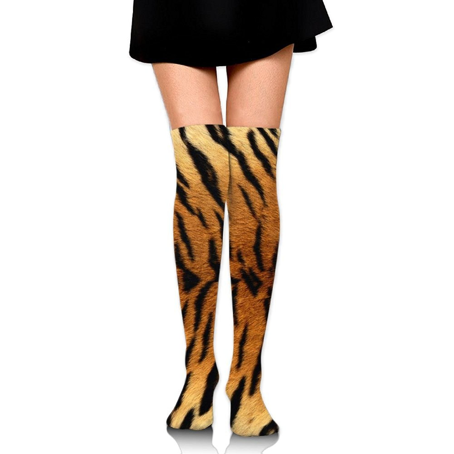 10c5b959795 Get Quotations · Fengyaojianzhu Women s Tube Stockings Tiger Stripes Over  The Knee Unisex Knee High Long Socks