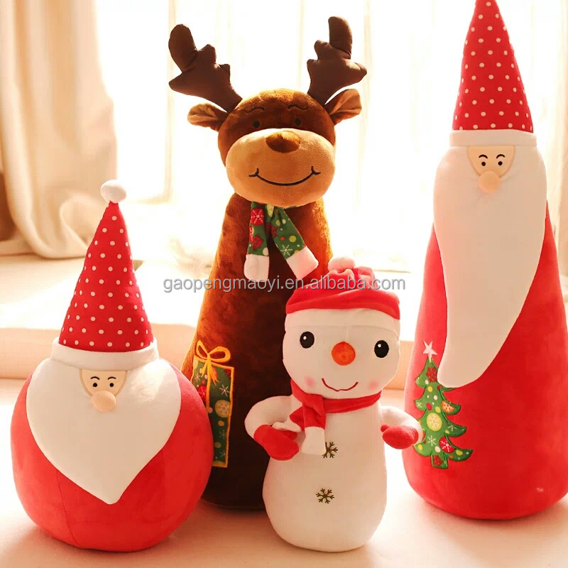 New products cheap home decoration smile 30cm sitting santa claus dolls with colorful fabric clothes