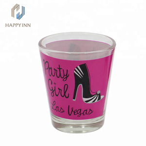 Good selling Las Vegas printed glass water cup