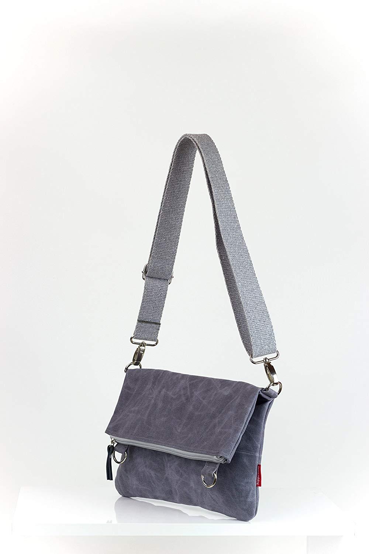3a44fba504b5 Get Quotations · Light Grey Waxed Foldover Bag