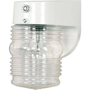 (USA Warehouse) Nuvo Lighting 77/862 White 1 Light Outdoor Wall Sconce with Clear Jar Shade -/PT# HF983-1754428638