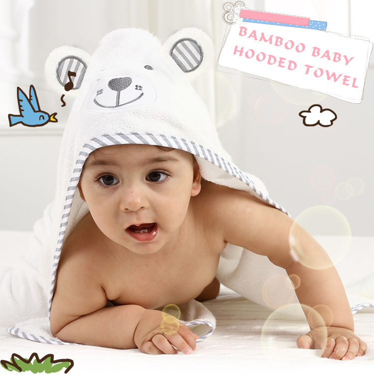 New Design Cute Animal Ears Hypoallergenic Antibacterial Bamboo Hooded Baby Bath Towel