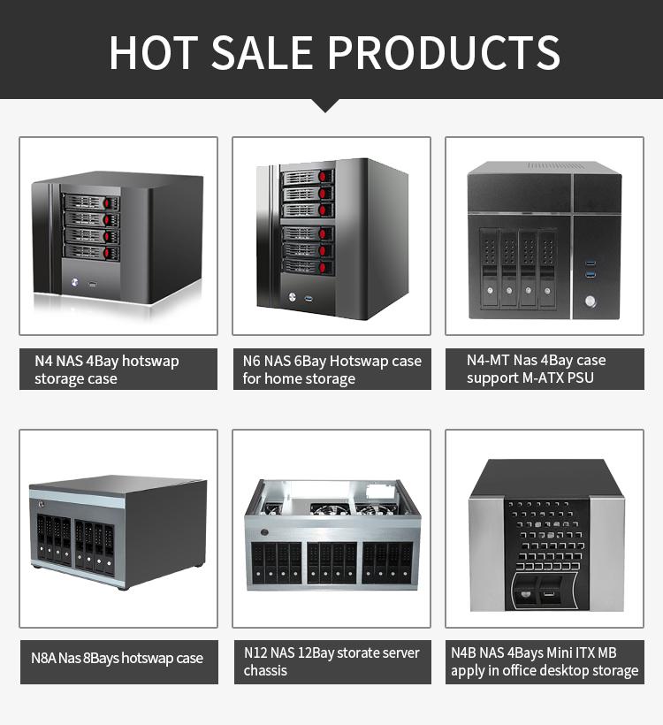 Nhà máy bán buôn giá 4 bay trường hợp máy chủ mạng nas lưu trữ máy chủ nhỏ itx trường hợp với trao đổi nóng