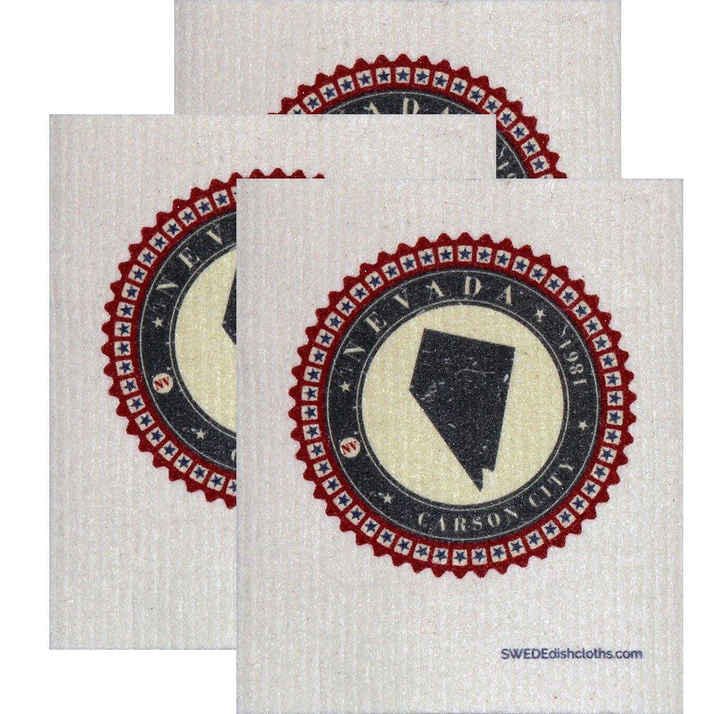 Swedish Dishcloth by SWEDEdishcloths | Set of 3 each Swedish Dishcloth Badge Design - Nevada | Eco Friendly Cleaning Absorbent Cloth Eco Friendly Cleaning Wipes