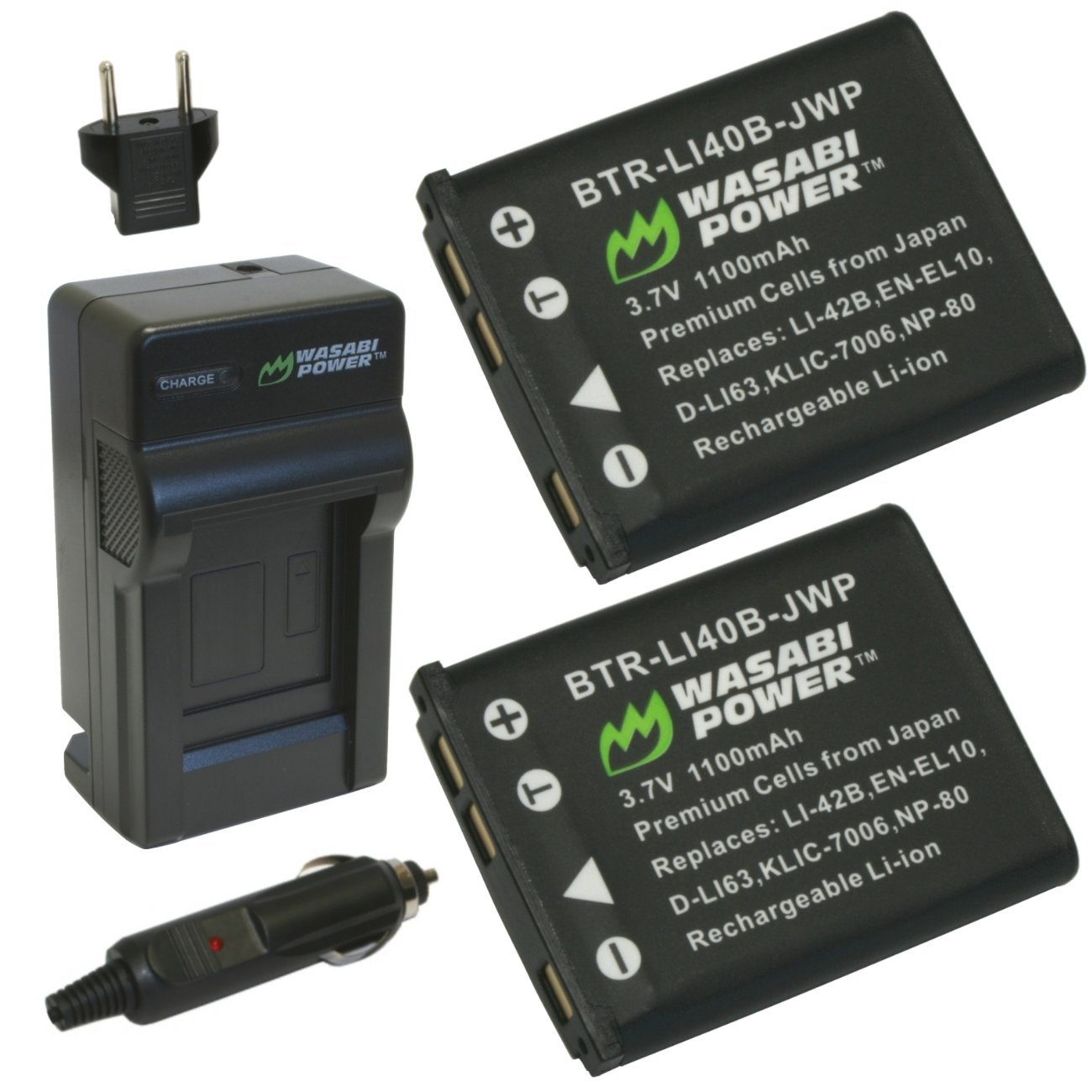 Wasabi Power Battery (2-Pack) and Charger for Fujifilm NP-45, NP-45A, NP-45B, NP-45S and Fuji FinePix J10, J12, J15, J15fd, J20, J25, J26, J27, J30, J35, J38, J40, J100, J110W, J120, J150W, J210, J250, JV100, JV105, JV150, JV155, JV160, JV200, JV205, JV250, JV255, JX200, JX205, JX250, JX255, JX280,