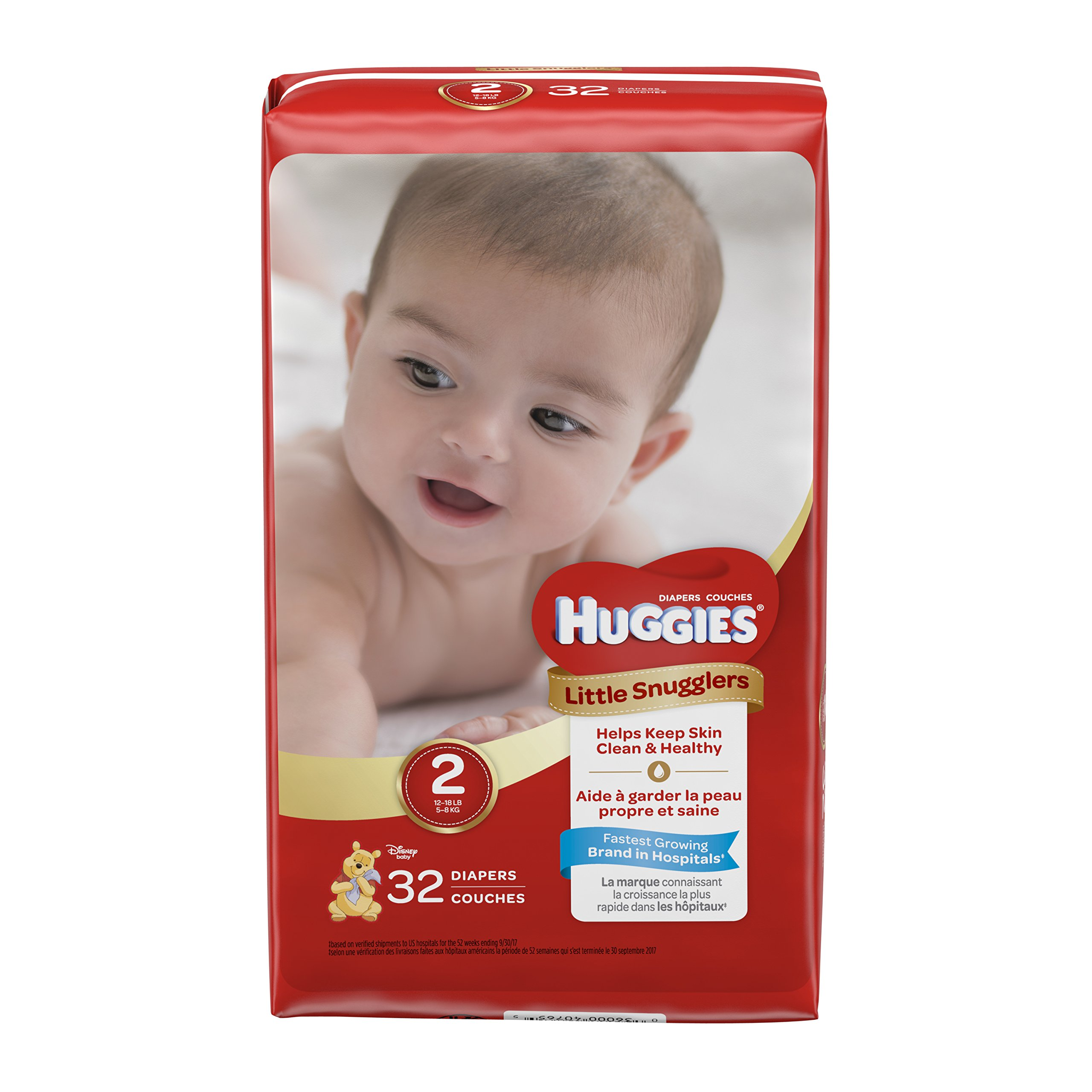 Huggies Little Snugglers Baby Diapers, Size 2, 32 Count, JUMBO PACK  (Packaging