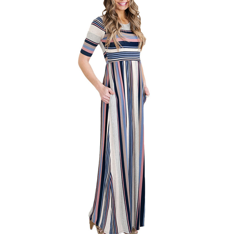 Wholesale Women Half Sleeve Round Neck High Waist Striped Ladies Design <strong>Dress</strong> Long Multi Color Striped Maxi <strong>Dress</strong>