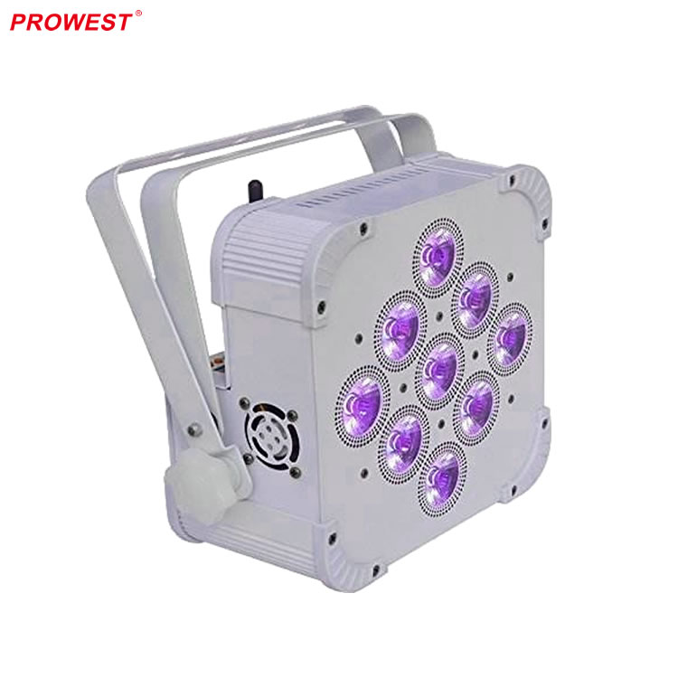 Wireless DMX wifiBattery Powered Rechargeable 9PCS x 18W RGBWA+UV 6-in-1 LED Par Can Uplights