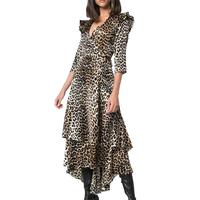 Dresses Plus Size Brown & Black Leopard Ruffle Hi-Low Dress Casual Western Style Fahion Apparel Women Sexy Dresses OEM