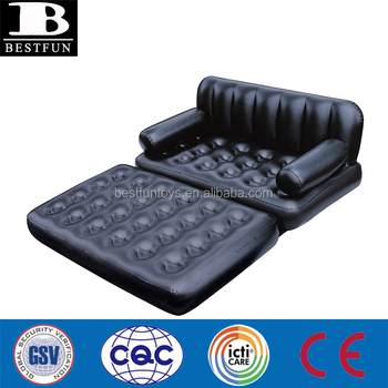 Heavy Duty Plastic Inflatable Sofa Bed Double Size Air Couch Fold
