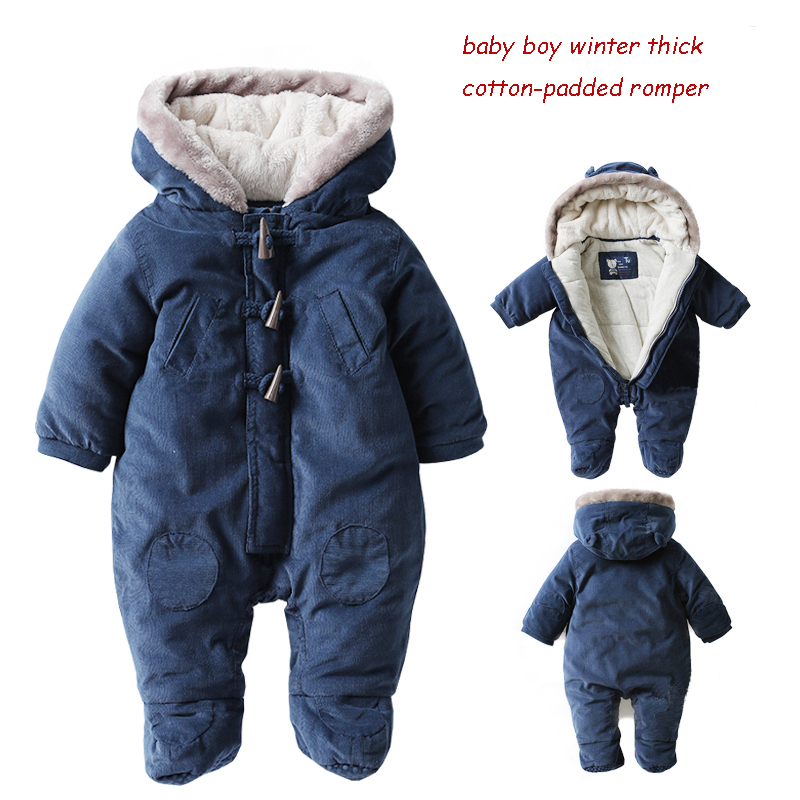 Baby romper autumn and winter thickening male winter wadded jacket newborn romper thermal clothing