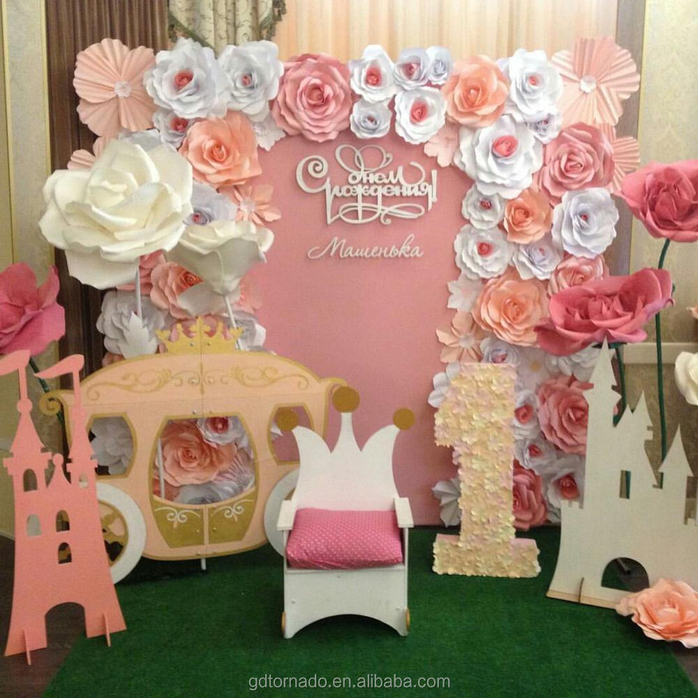 2017 Wholesale Amazing Artificial Pink White Paper Flower For Wall