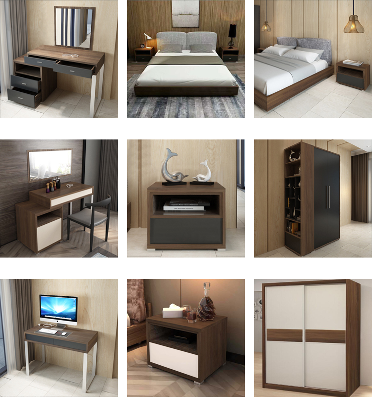 Commercial bed sheet modern wooden double bed hotel furniture for 5 star