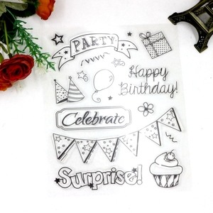 custom stamps with happy birthday words silicone scrapbook clear stamps