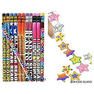 100 READING PENCILS & 200 Colorful STAR STICKERS Motivational - GREAT Reader Student #2 Lead - I LOVE to READ - PARTY FAVORS - CLASSROOM Rewards TEACHER
