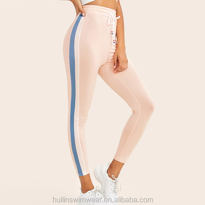 custom contrast panel side drawstring waist fitness leggings women