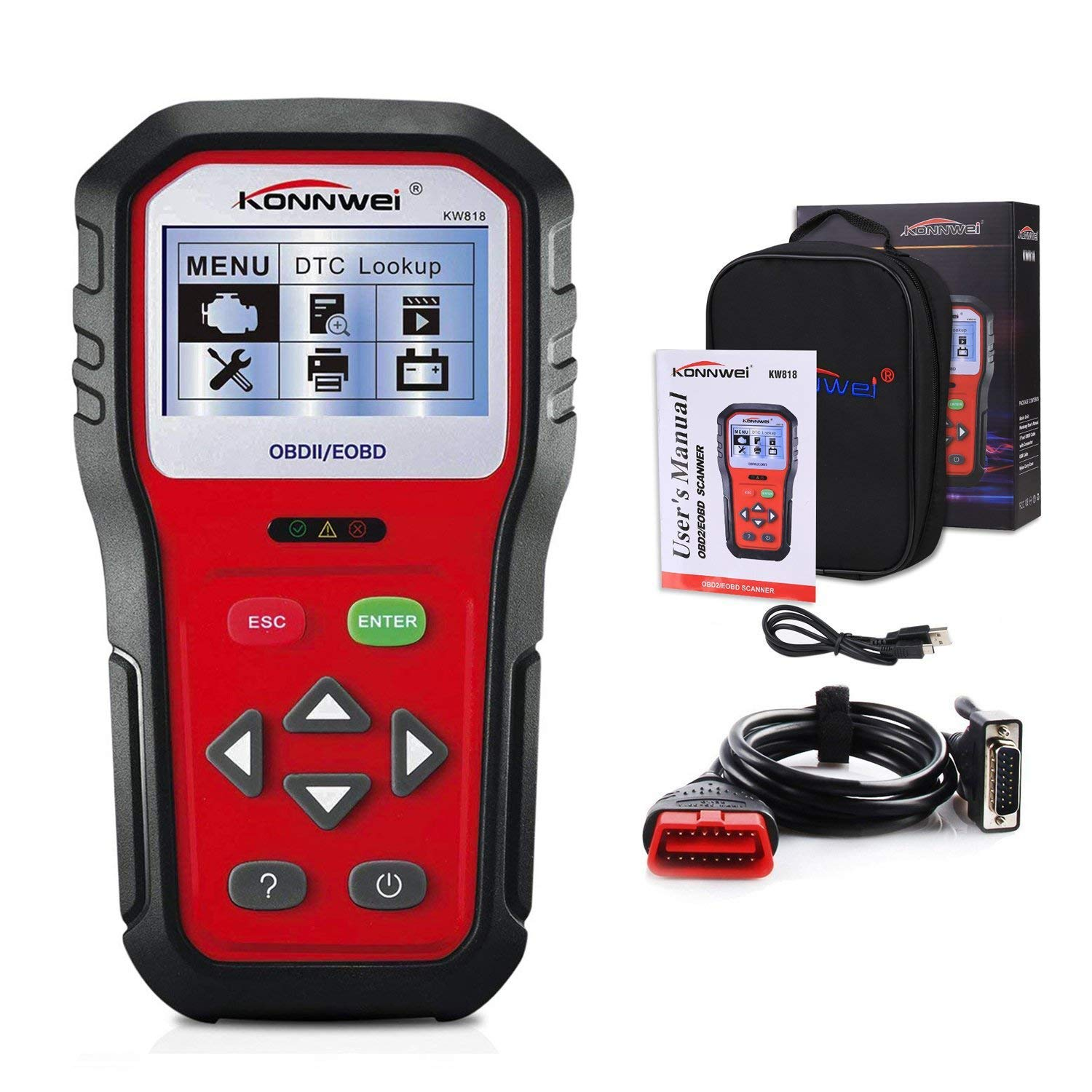 Get Quotations · KONNWEI OBD2 Car Diagnostic Scanner, KW818 Pro Universal  Car Code reader Vehicle Diagnostic Tool,