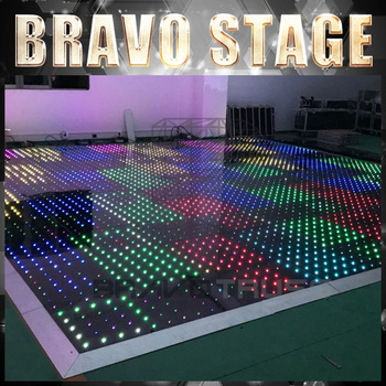 Acrylic Glossy White or Black Outdoor starlit video Led Digital Dance Floor