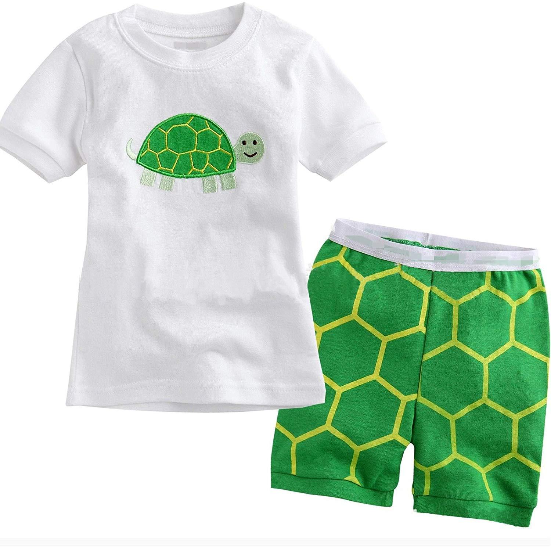 "Taiycyxgan Little Boy Shorts ""Turtle"" 2 Piece Pajama 100% Cotton (Size 2-6 Years)"