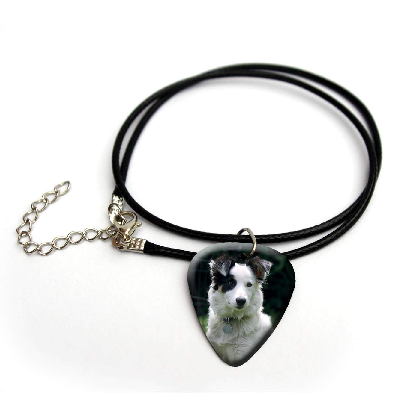 "Cute dog puppy terrier guitar pick necklace 18"" #23"
