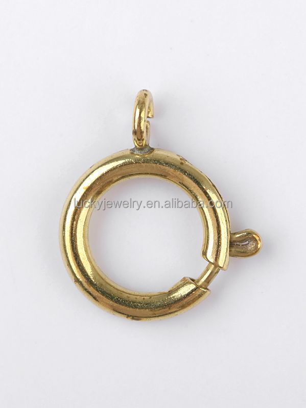 Fashion Cheaper 12mm raw brass can Plated more Colors Spring Lock Ring Clasps made in China jewelry Accessories Findings DIY