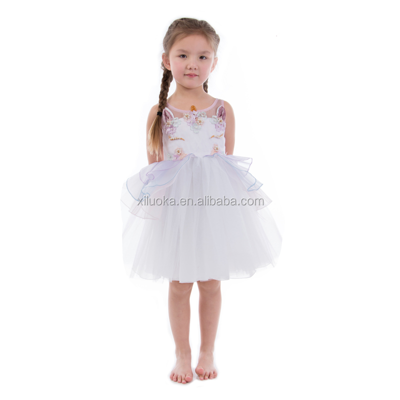 2018 Kids Clothing Fashion Children Chiffon Dress Unicorn Party Girl Dress