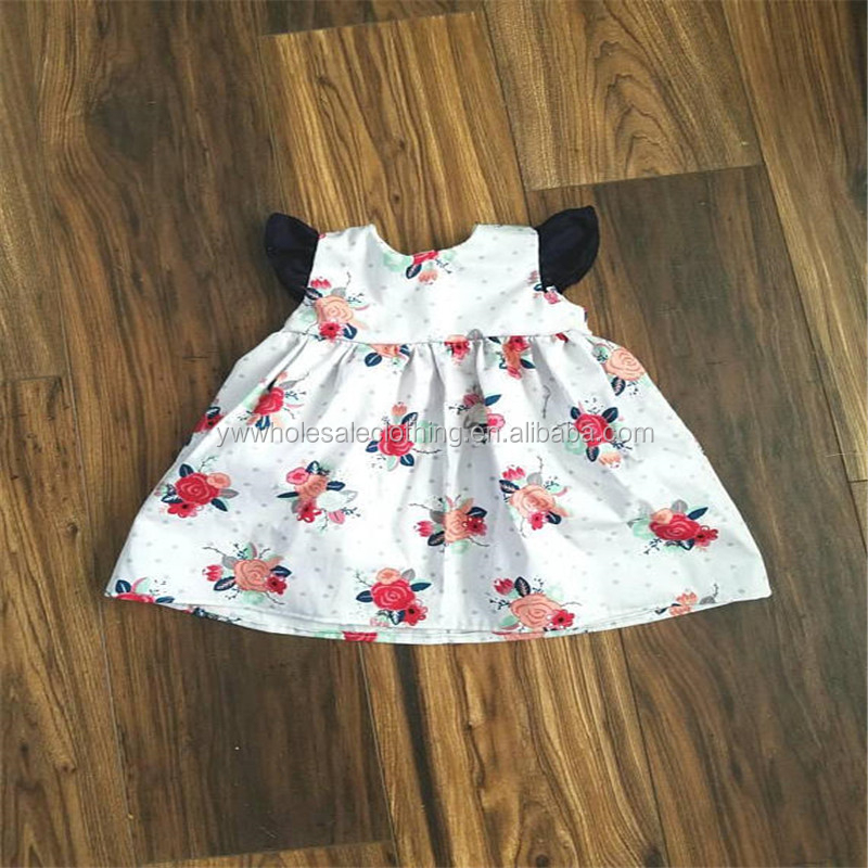 2018 summer rose print flutter tunic for baby girls yiwu designer tunics for girls customized patterns dress for kids