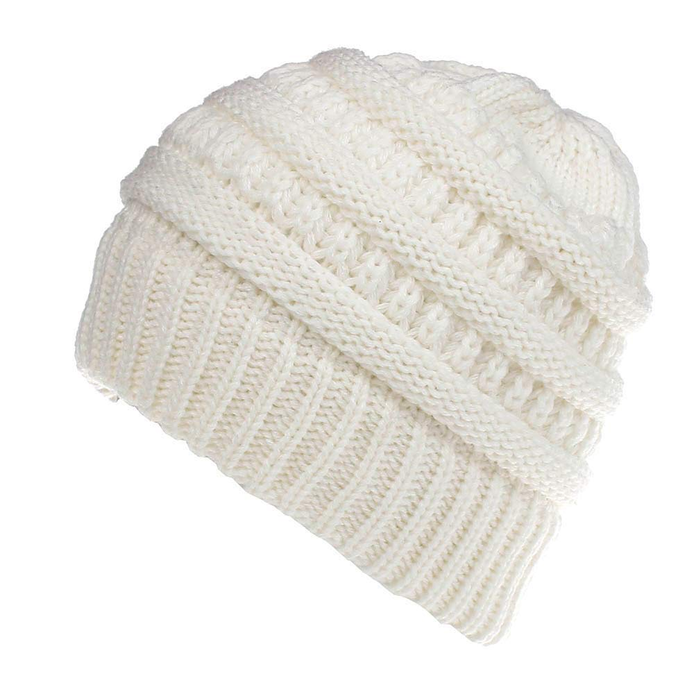 e7892f03f53 Get Quotations · Shybuy Women BeanieTail Soft Stretch Cable Acrylic Knit  Messy High Bun Ponytail Beanie Hat Men Baggy