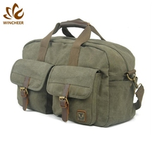 Manufacturers genuine leather trim top closure zipper durable wholesale bags canvas sports gym duffel travel cargo bag