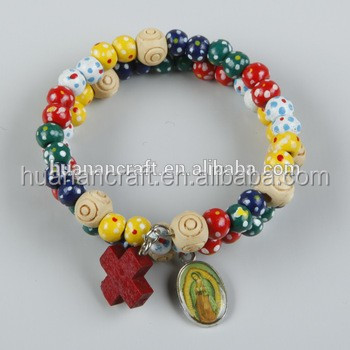 HN15E077 HUANAN wood beads rosory wrap bracelet with cross
