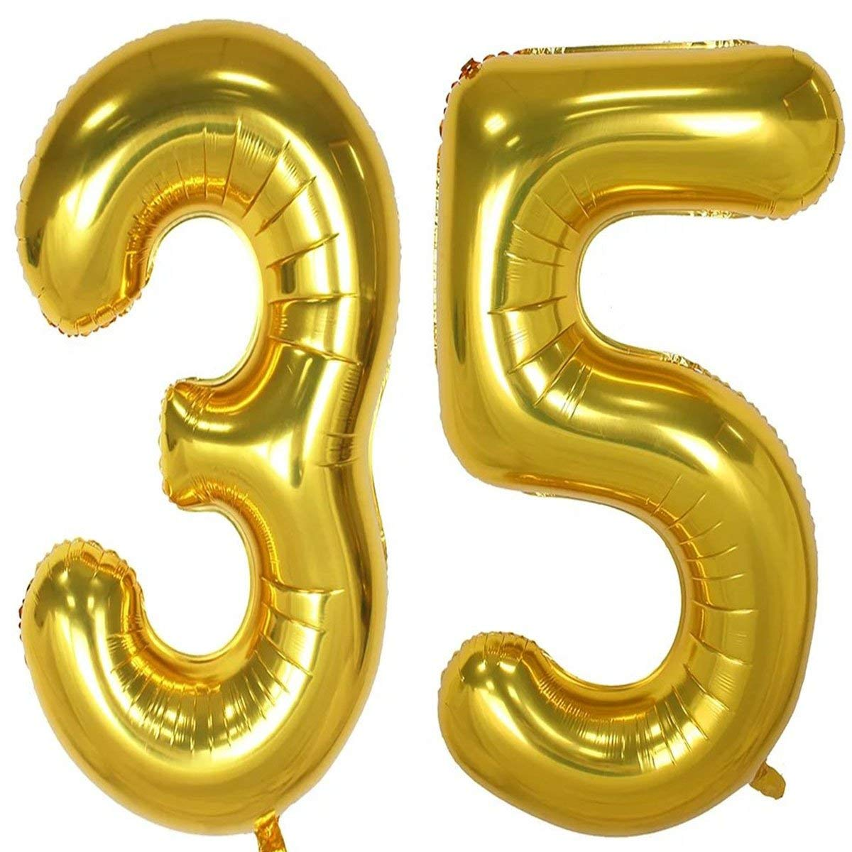 Get Quotations 40inch Gold Foil 35 Helium Jumbo Digital Number Balloons 35th Birthday Decoration For Girls