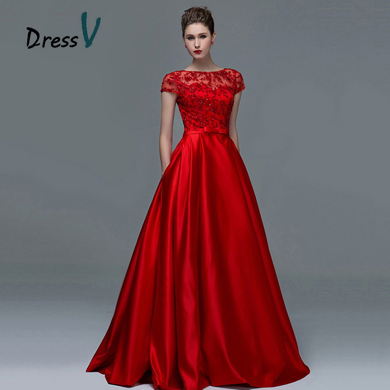 Elegant Red Lace Short Sleeves Evening Dresses 2015 Sexy A ...