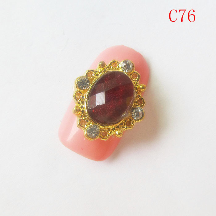 10pcs Nail Art Decorations gold Plated with Red Rhinestone 3d Nail Art Supplies 15*15mm Retro Oval C76 Free shipping